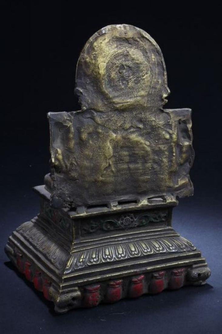A Seated Religious Anicent-framing Tibetan Statue - 5