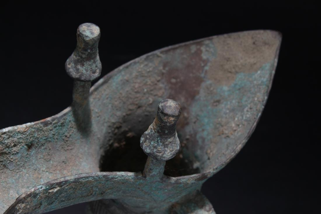 A Chinese Anicent-framing Bronze Vessel Wine Cup - 6