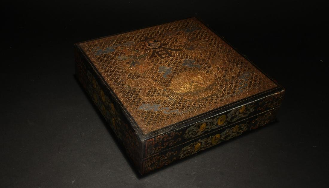 A Chinese Lidded Spring-fortune Square-based Lacquer