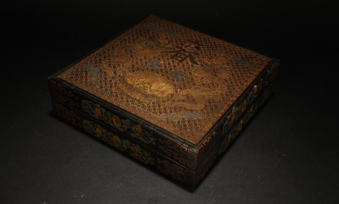A Chinese Lidded Spring-fortune Square-based Lacquer - 2