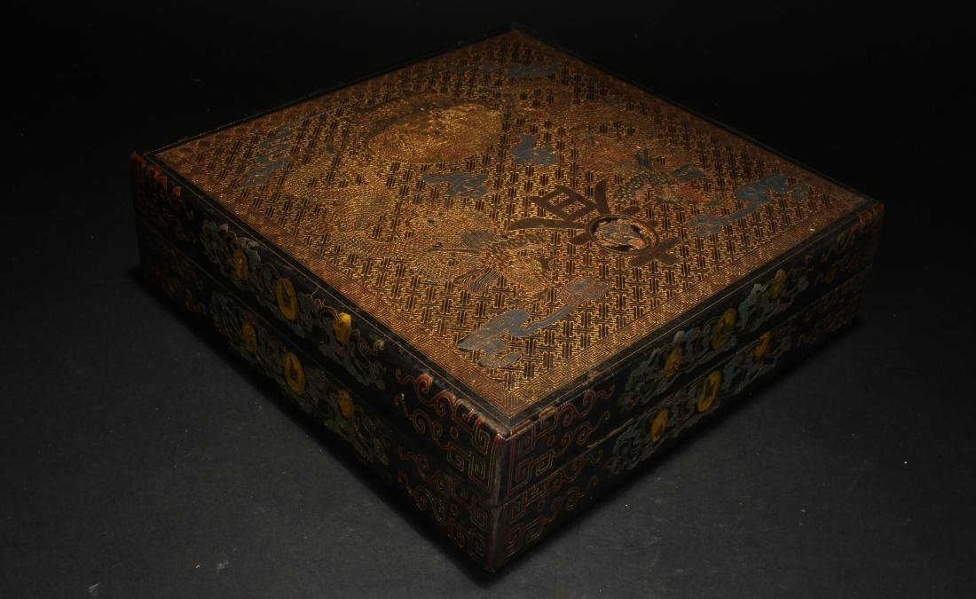 A Chinese Lidded Spring-fortune Square-based Lacquer - 3