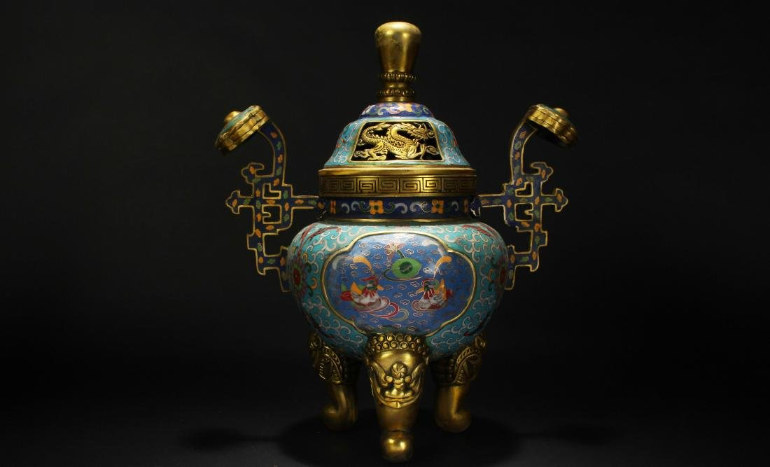 An Estate Chinese Duo-handled Estate Cloisonne Censer