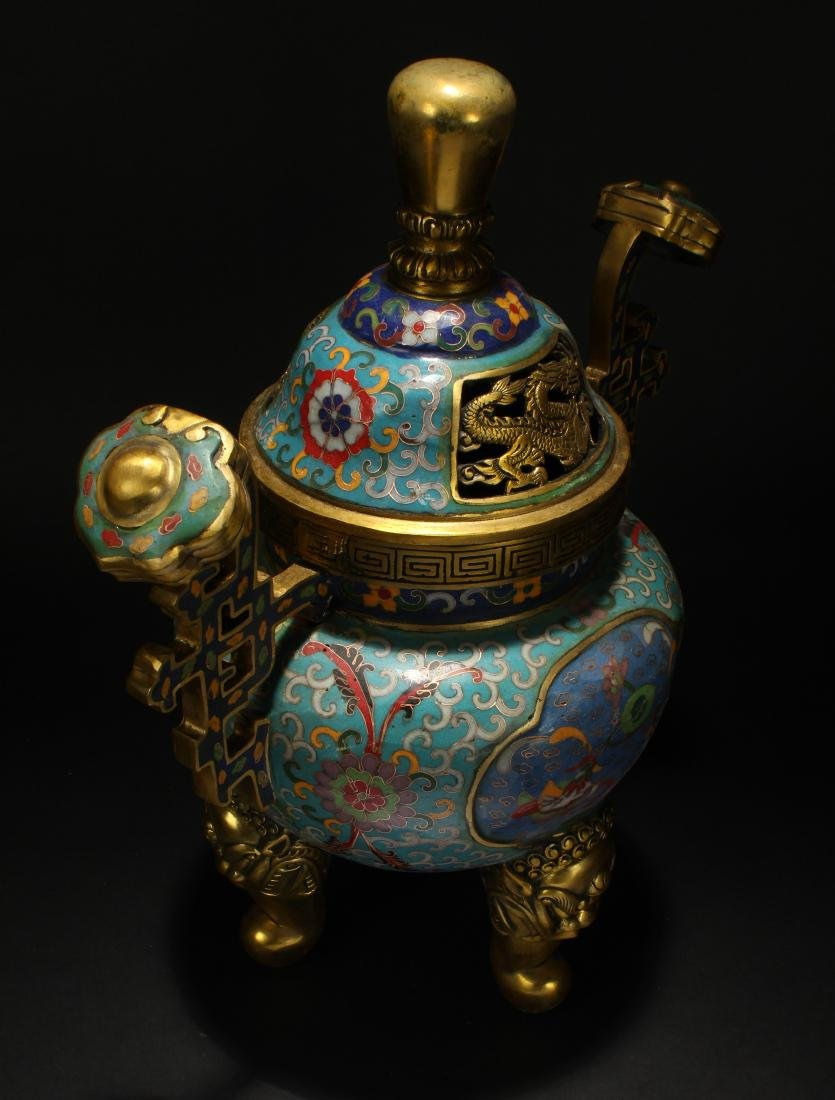 An Estate Chinese Duo-handled Estate Cloisonne Censer - 2