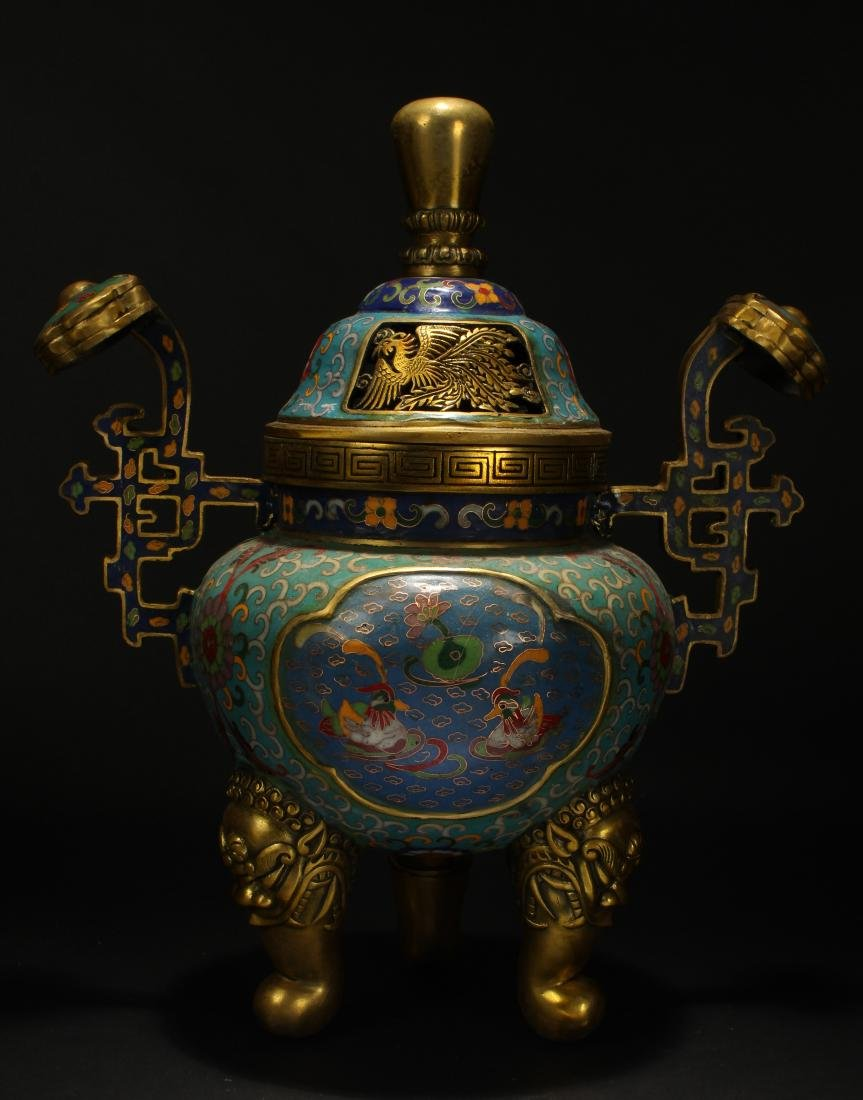 An Estate Chinese Duo-handled Estate Cloisonne Censer - 3