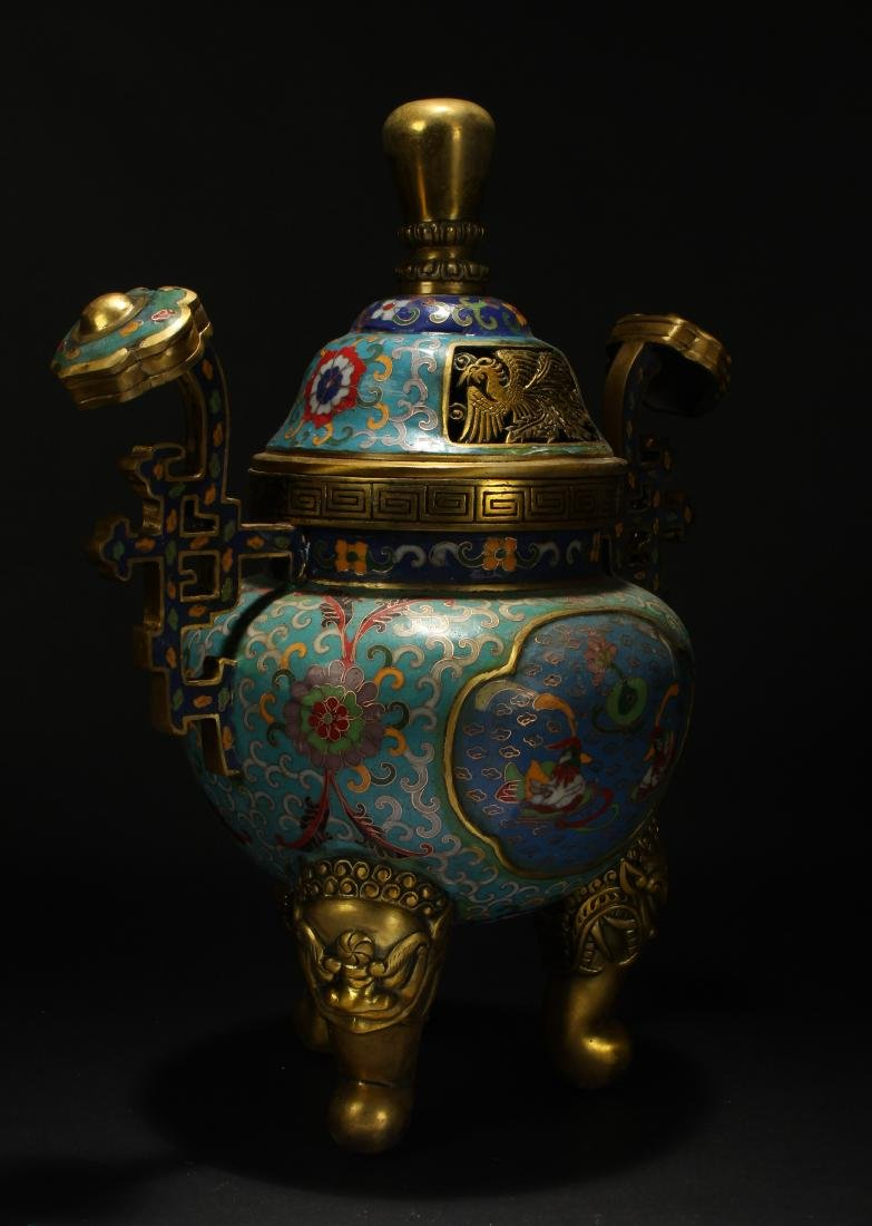 An Estate Chinese Duo-handled Estate Cloisonne Censer - 4