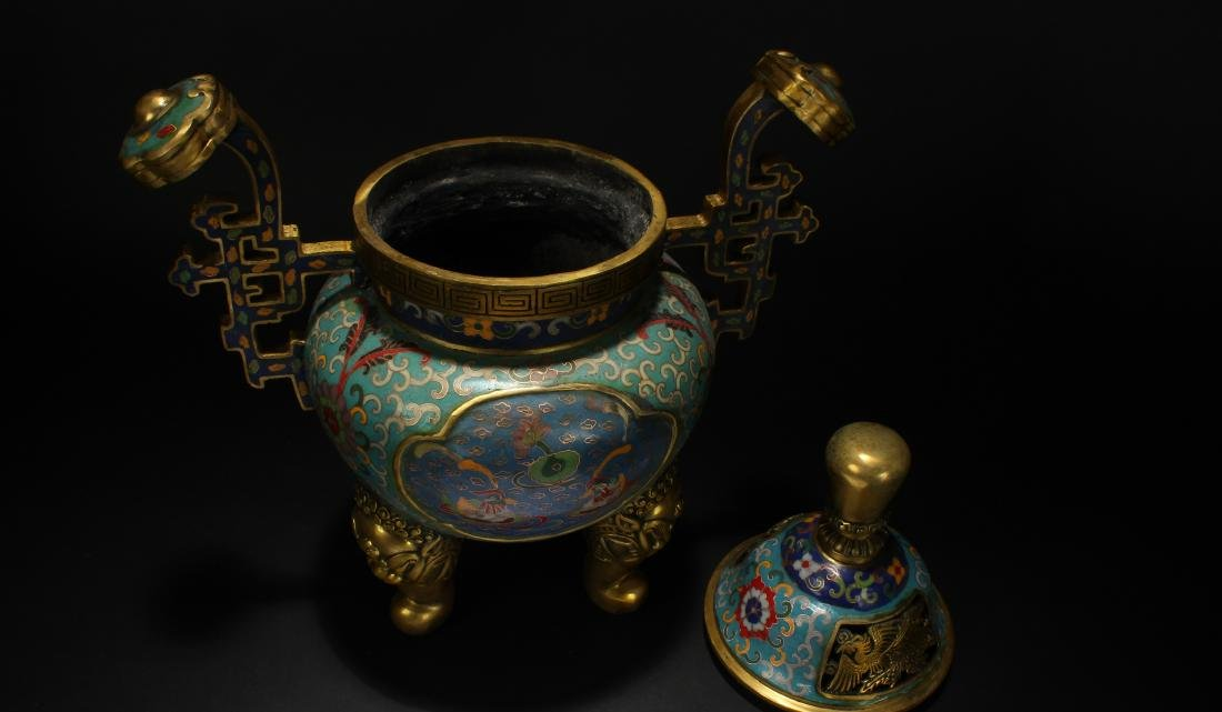 An Estate Chinese Duo-handled Estate Cloisonne Censer - 5