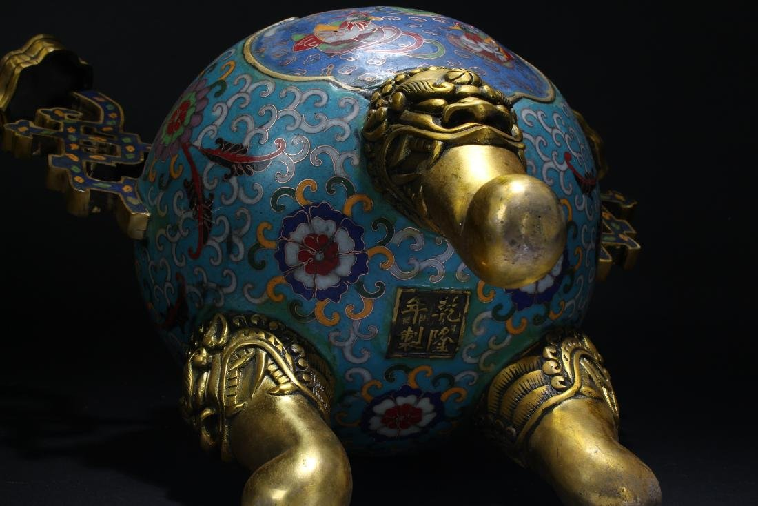 An Estate Chinese Duo-handled Estate Cloisonne Censer - 6