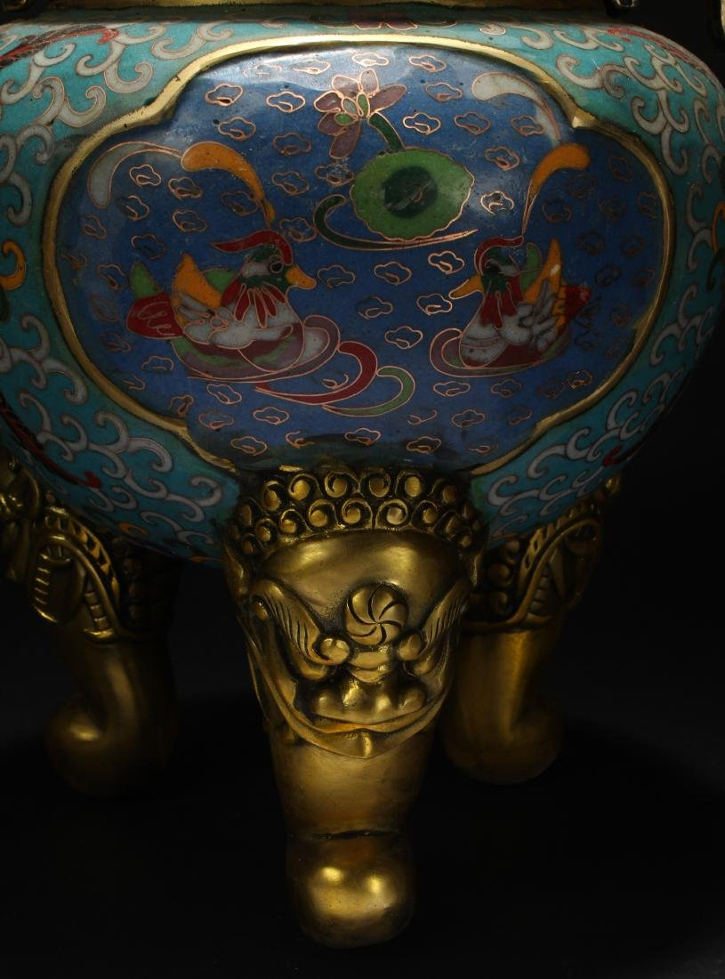 An Estate Chinese Duo-handled Estate Cloisonne Censer - 7