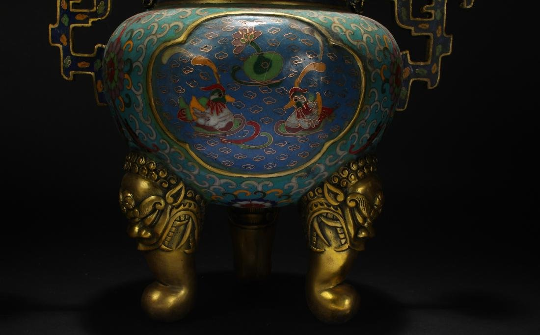 An Estate Chinese Duo-handled Estate Cloisonne Censer - 8