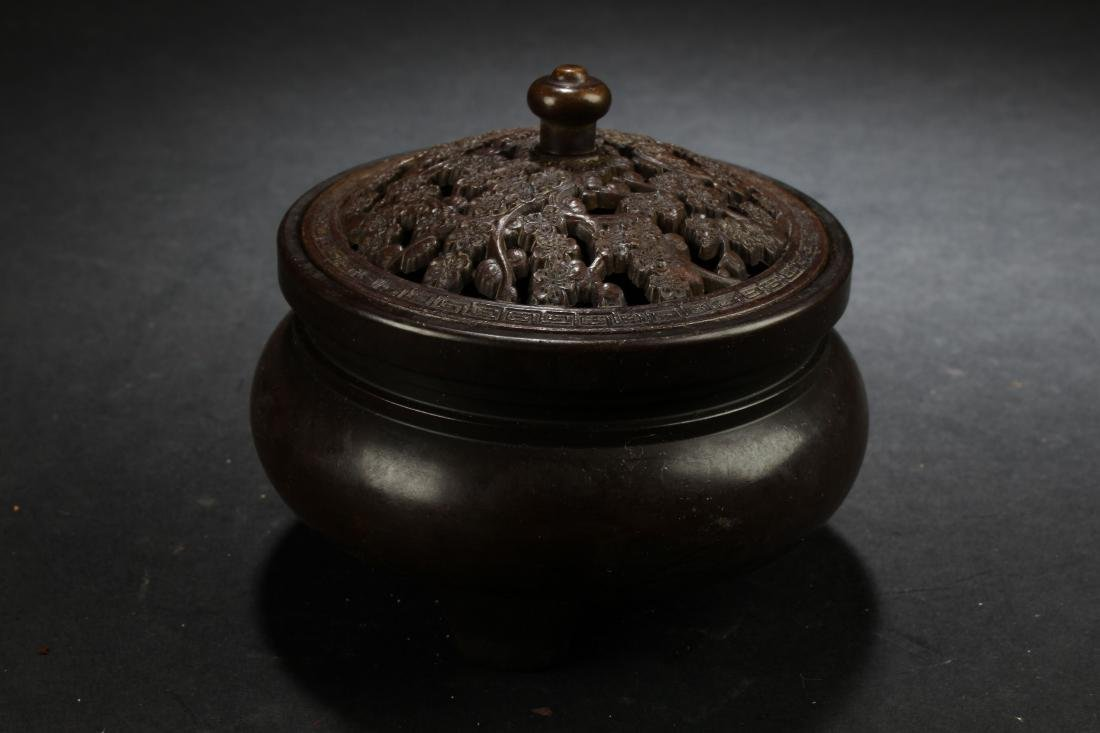 A Chinese Lidded Estate Censer Display
