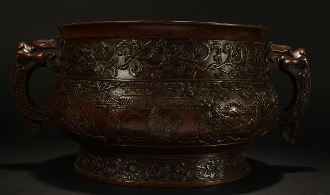 A Chinese Duo-handled Anicent-framing Massive Censer