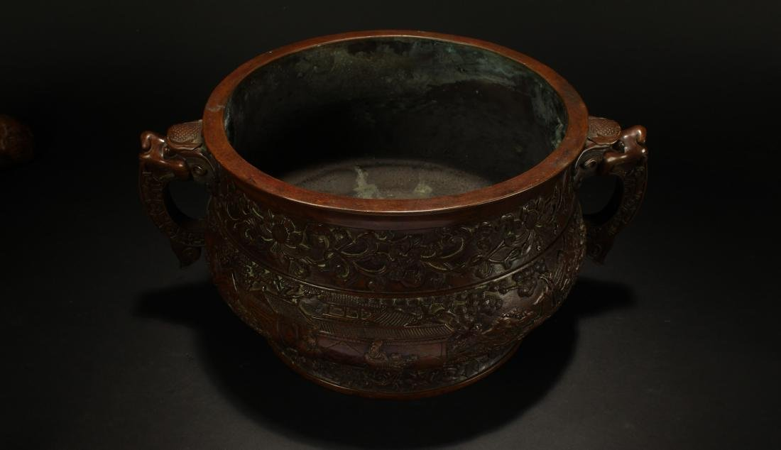 A Chinese Duo-handled Anicent-framing Massive Censer - 2