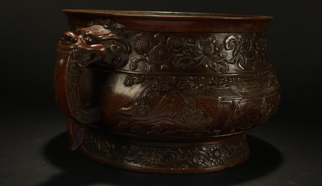 A Chinese Duo-handled Anicent-framing Massive Censer - 3