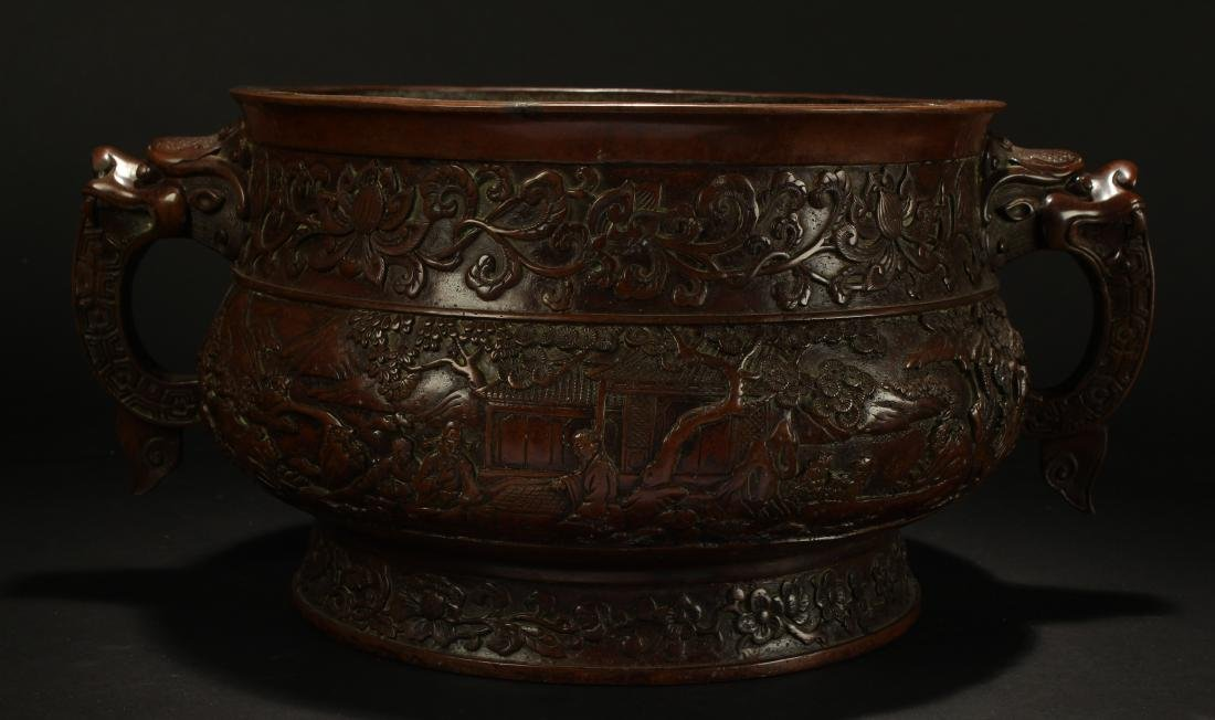 A Chinese Duo-handled Anicent-framing Massive Censer - 4