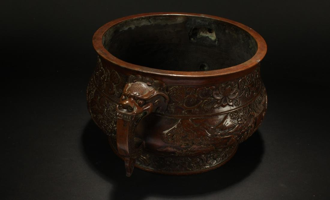 A Chinese Duo-handled Anicent-framing Massive Censer - 5