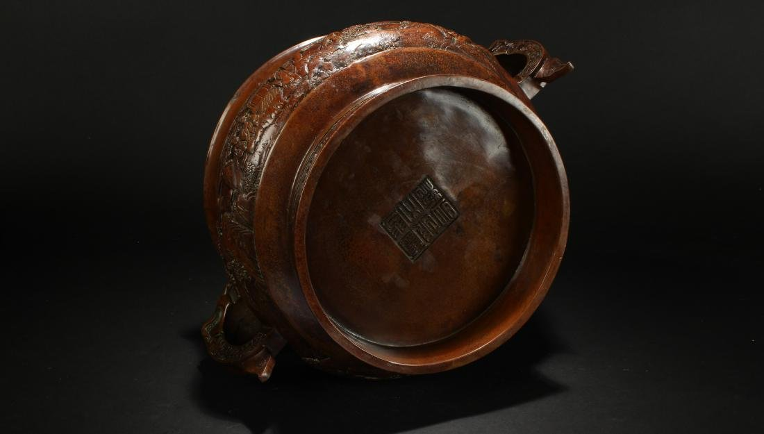 A Chinese Duo-handled Anicent-framing Massive Censer - 6