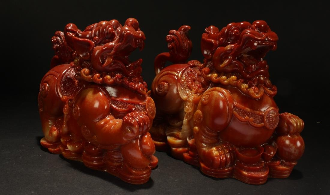 A Pair of Chinese Estate Myth-beast Statue Statue