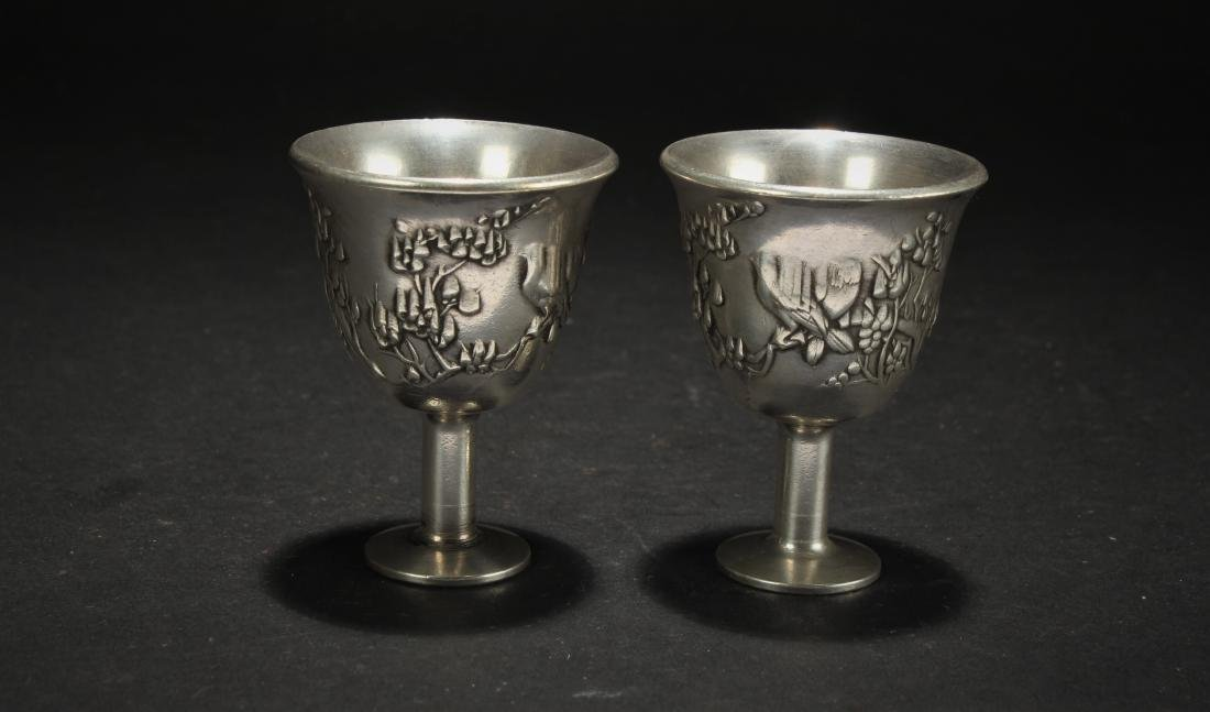Two Chinese Estate Eastern Wine Cups