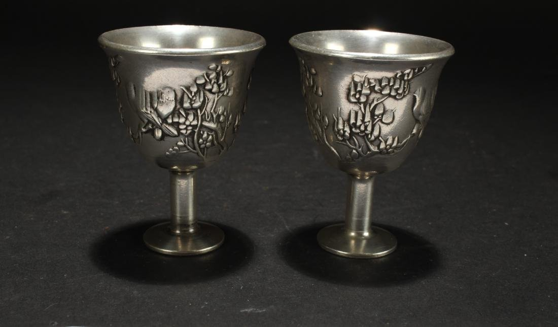 Two Chinese Estate Eastern Wine Cups - 2