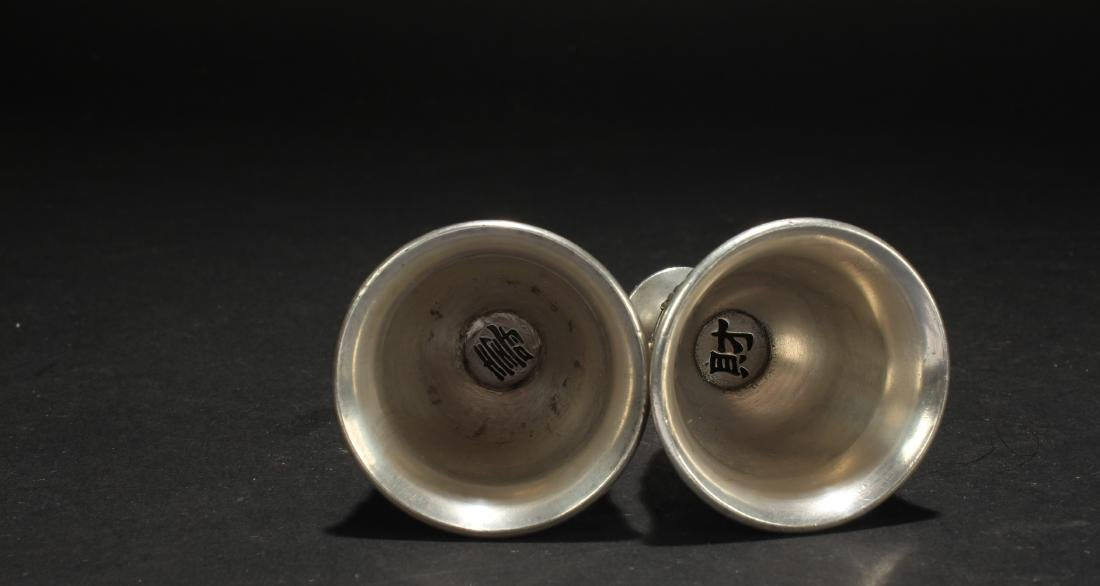 Two Chinese Estate Eastern Wine Cups - 4