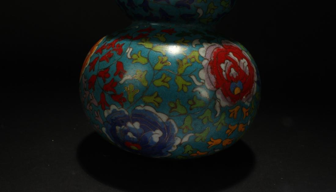 An Estate Chinese Calabash-shape Cloisonne Vase Display - 6
