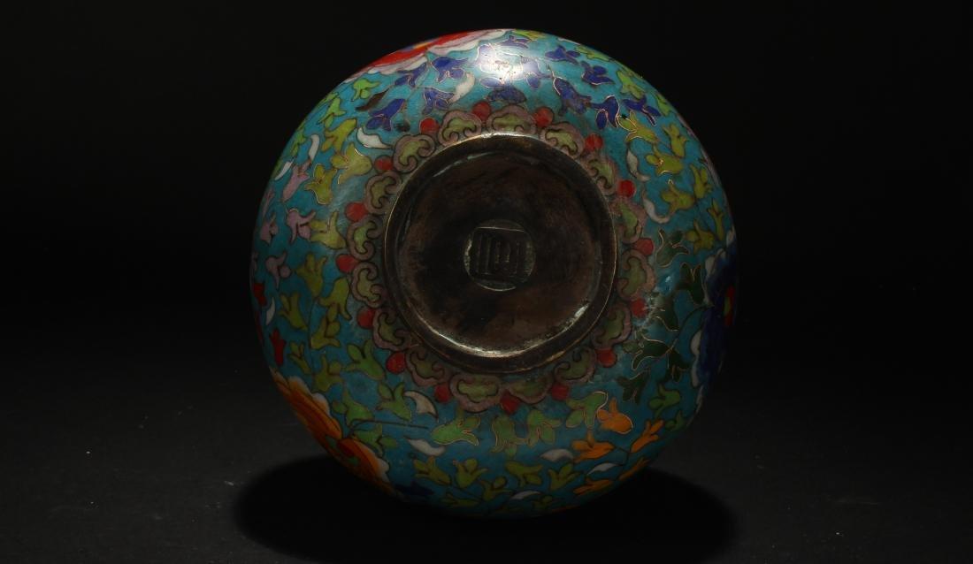 An Estate Chinese Calabash-shape Cloisonne Vase Display - 8