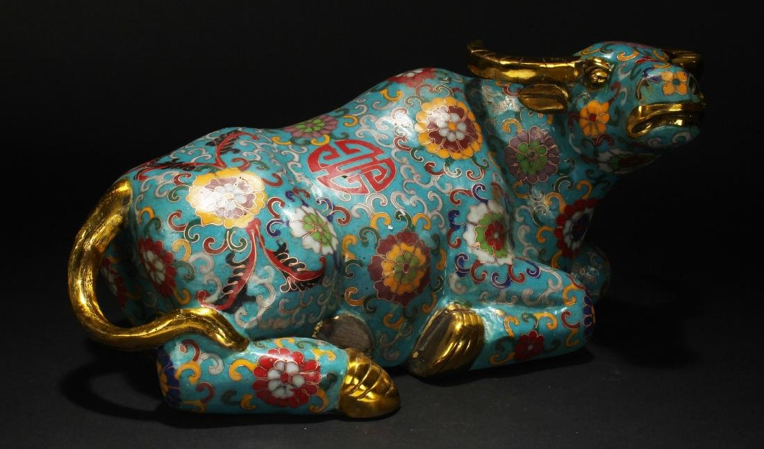 An Estate Chinese Bull-portrait Cloisonne Statue