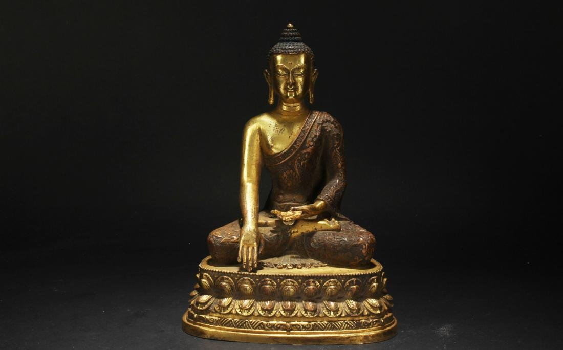 An Estate Chinese Loctus-seated Gilt Statue