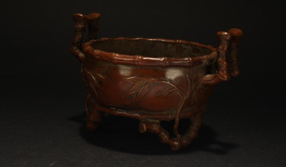 A Chinese Bamboo-fortune Estate Censer Display - 3