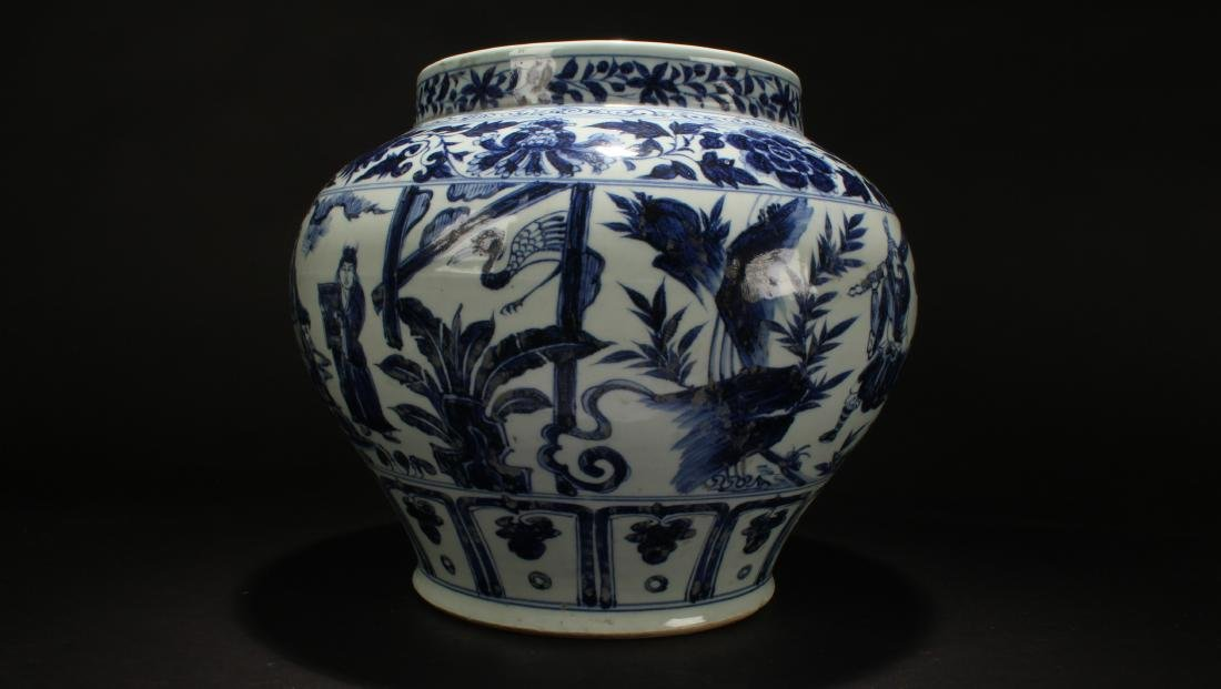An Estate Chinese Blue and White Porcelain Vase Display - 4