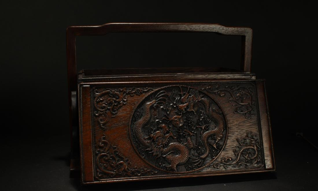A Chinese Lidded Dragon-decorating Display Wooden Box - 6