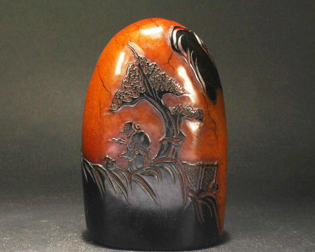 A Chinese Overlay Estate Soapstone Display Figure
