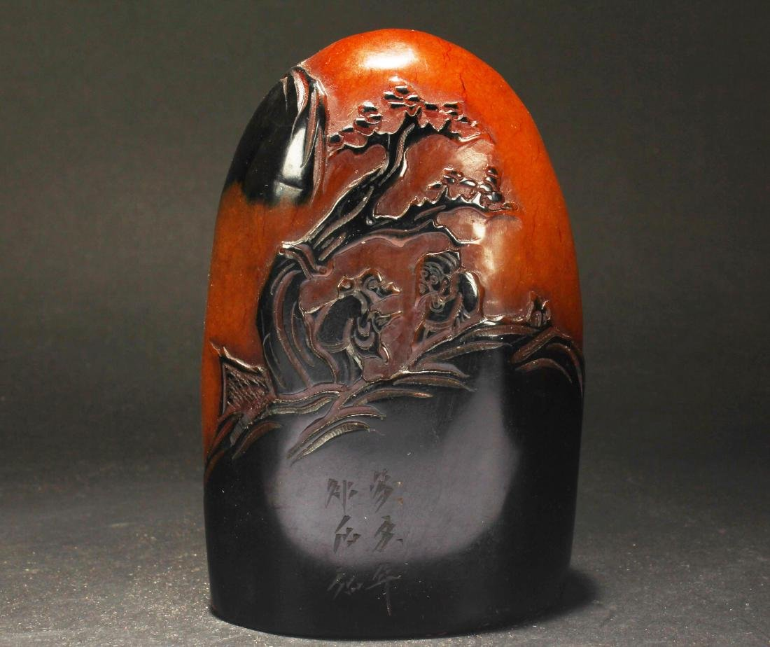 A Chinese Overlay Estate Soapstone Display Figure - 3