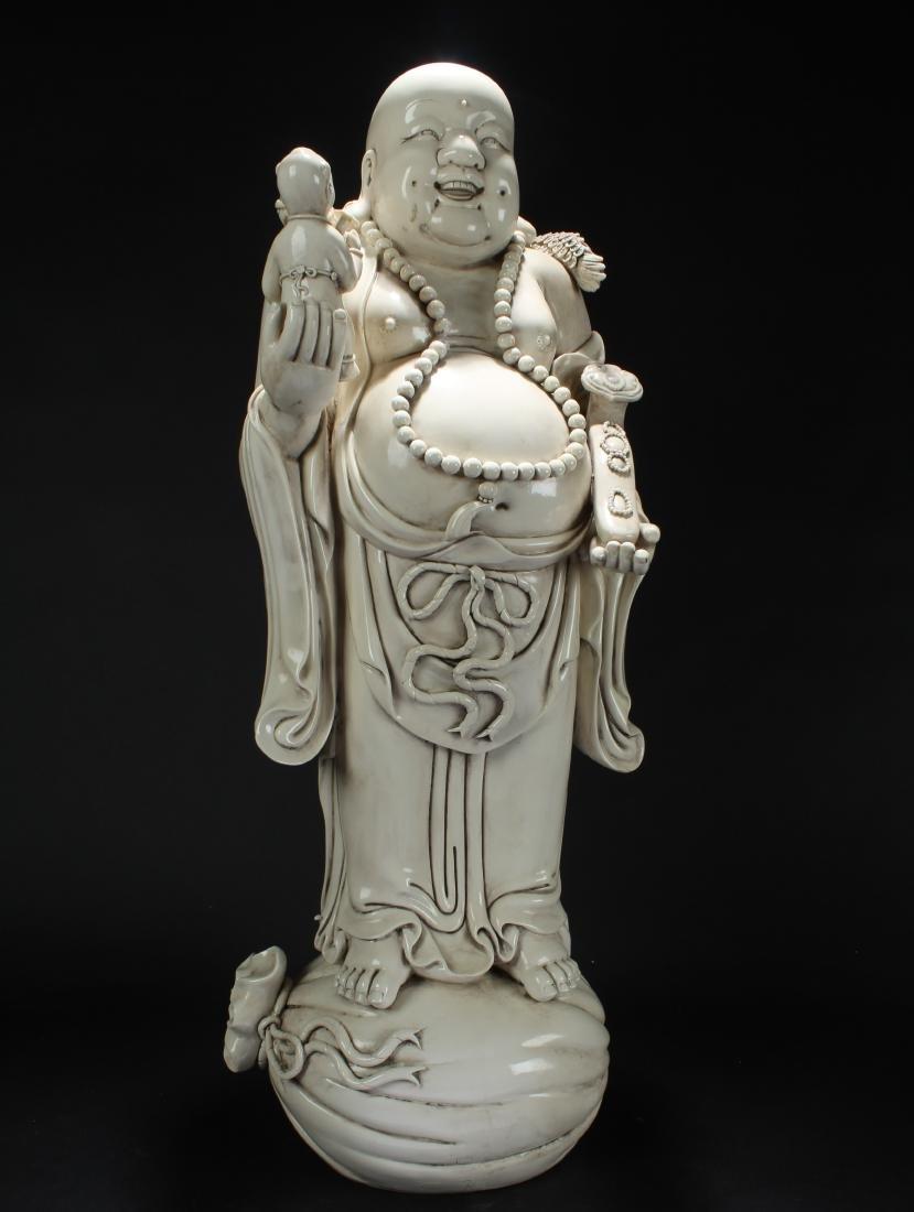 A Chinese Blanc De Happy-buddha Massive Display Statue