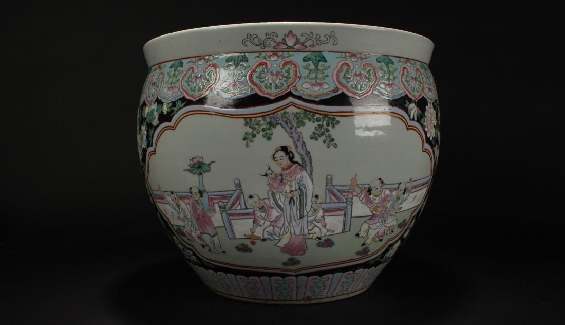 A Chinese Bat-framing Windowed Story-telling Porcelain