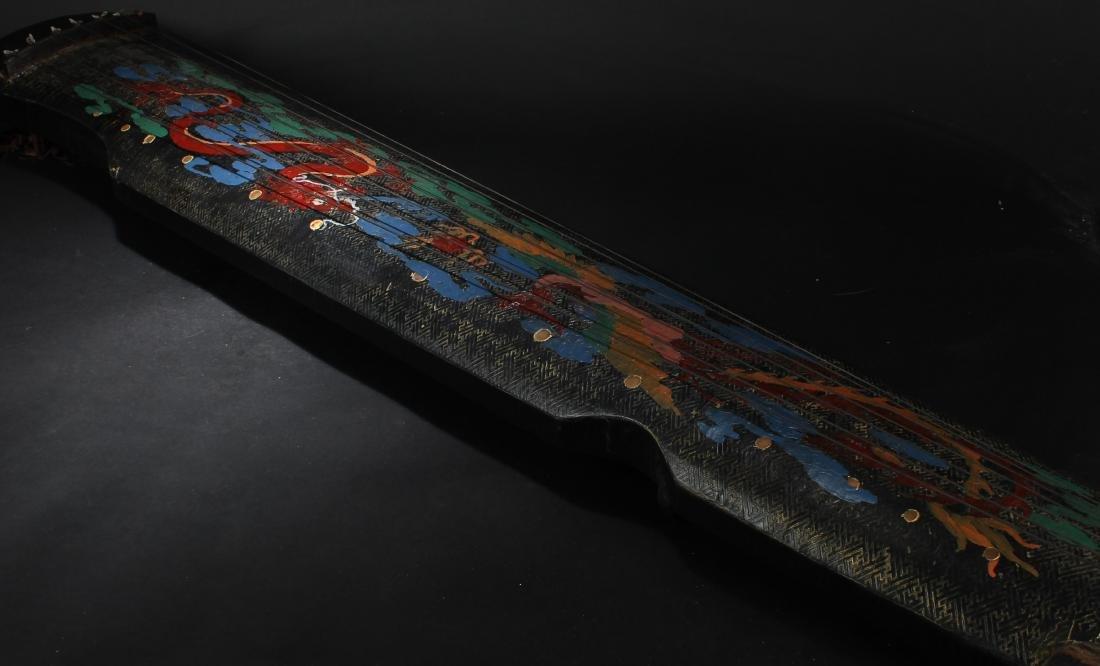 An Estate Chinese 7-string Dragon-decorating  Guzheng