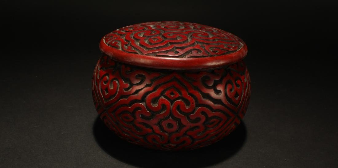 A Chinese Lidded Bat-framing Fortune Lacquer Chest Box