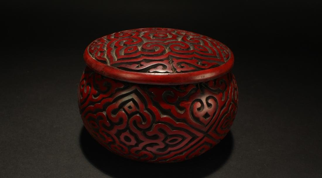 A Chinese Lidded Bat-framing Fortune Lacquer Chest Box - 2
