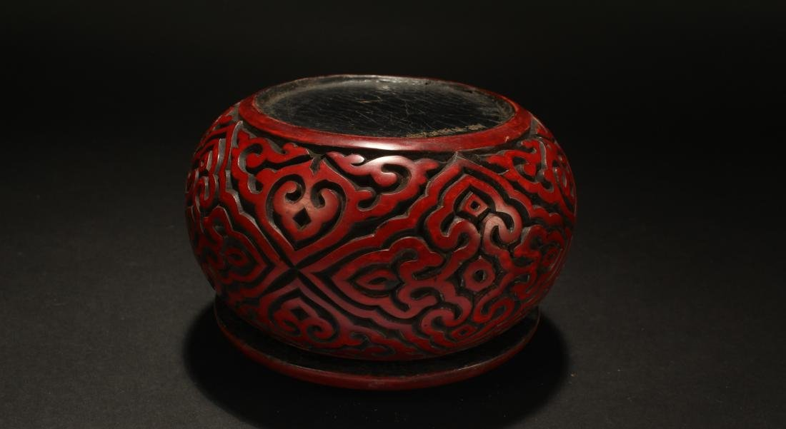 A Chinese Lidded Bat-framing Fortune Lacquer Chest Box - 4