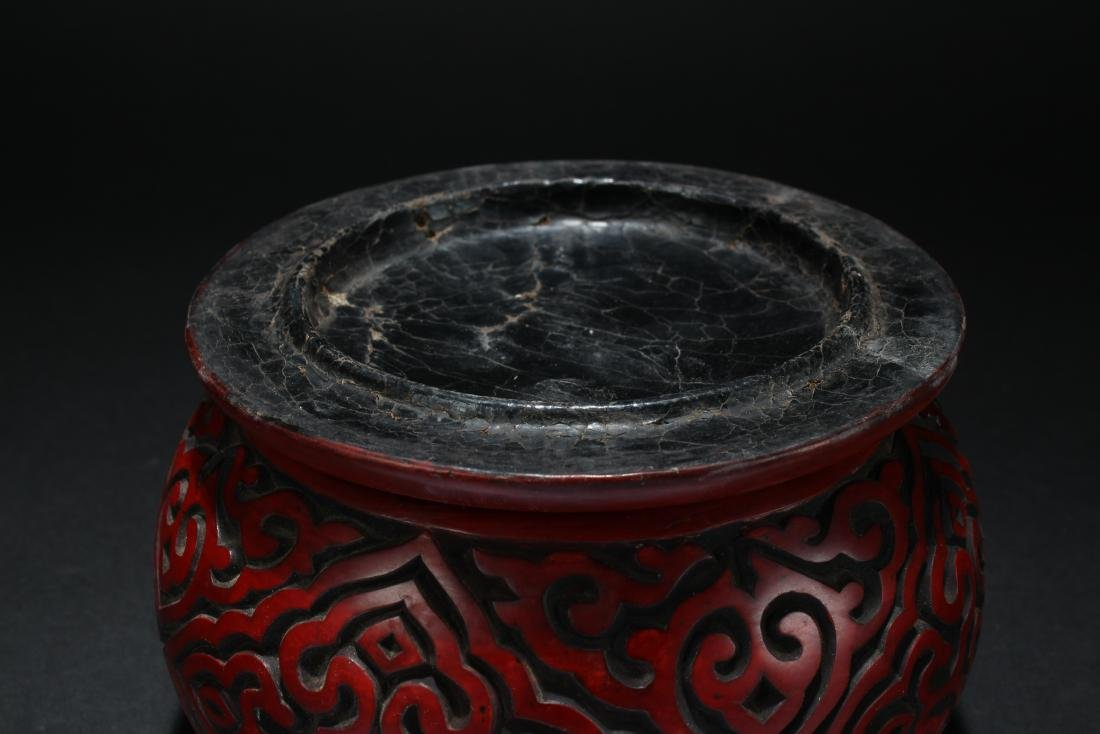 A Chinese Lidded Bat-framing Fortune Lacquer Chest Box - 7