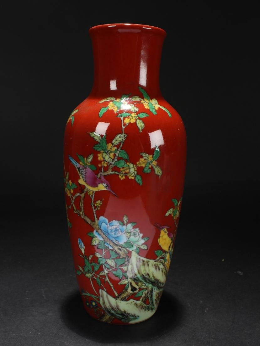 A Chinese Red Nature-sceen Porcelain Vase Display