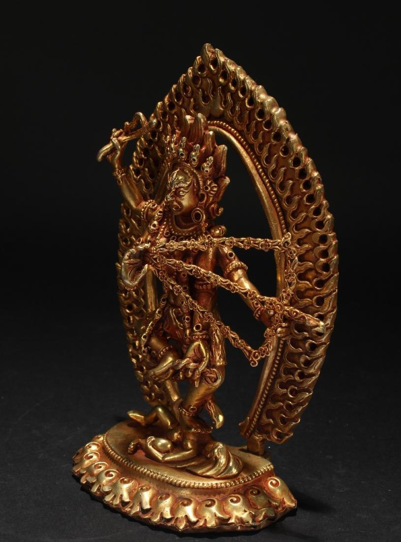 An Estate Tibetan Fortune Gilt Statue Display - 3