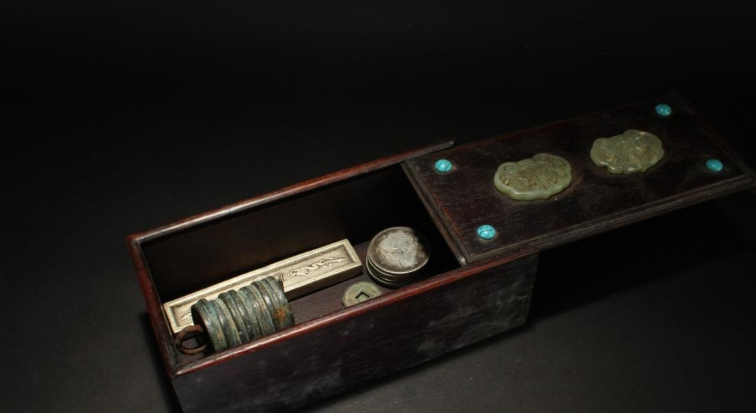 A Chinese Jade-inserted Item-filled Wooden Box Display