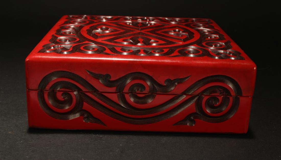 A Chinese Square-based Estate Lidded Lacquer Box - 3