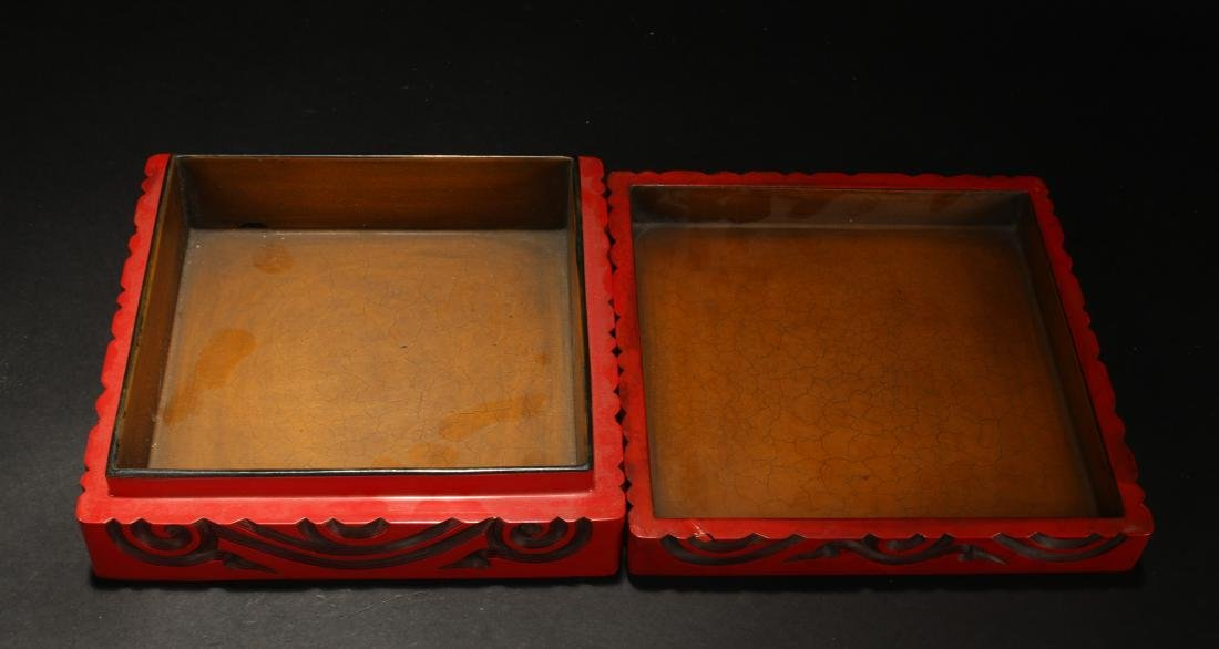 A Chinese Square-based Estate Lidded Lacquer Box - 5
