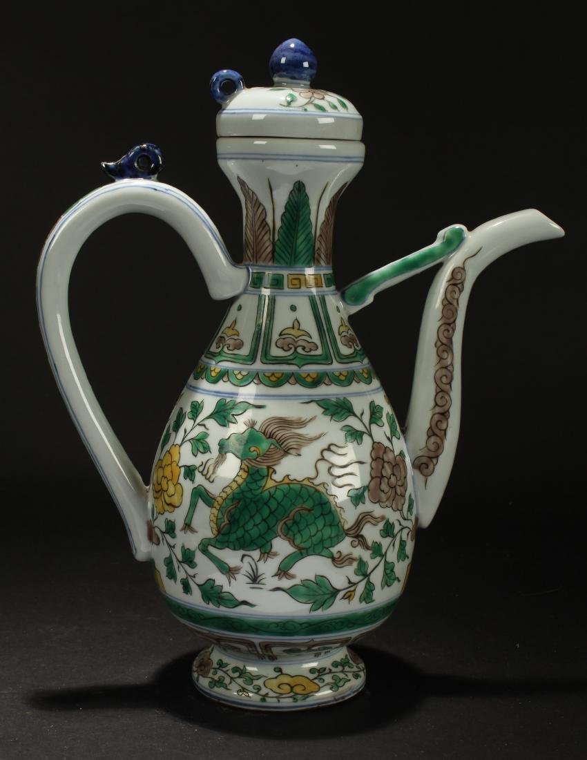 A Chinese Lidded Myth-beast Porcelain Fortune Ewer