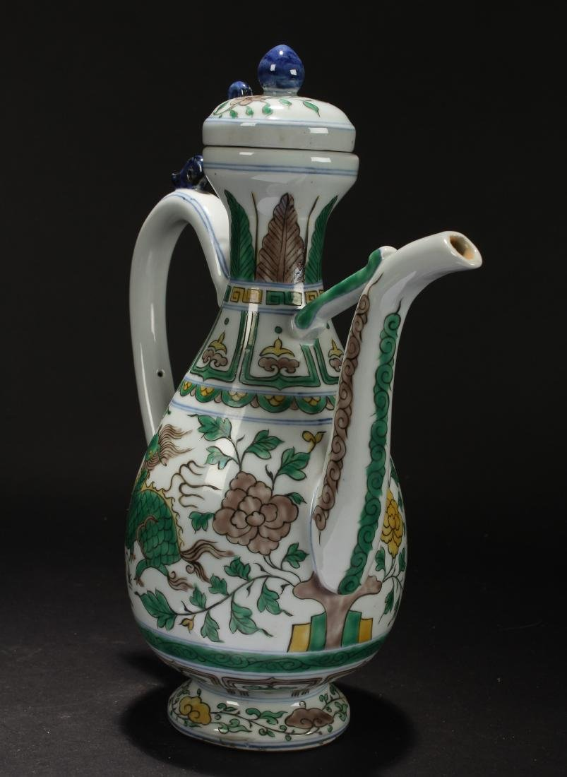 A Chinese Lidded Myth-beast Porcelain Fortune Ewer - 2