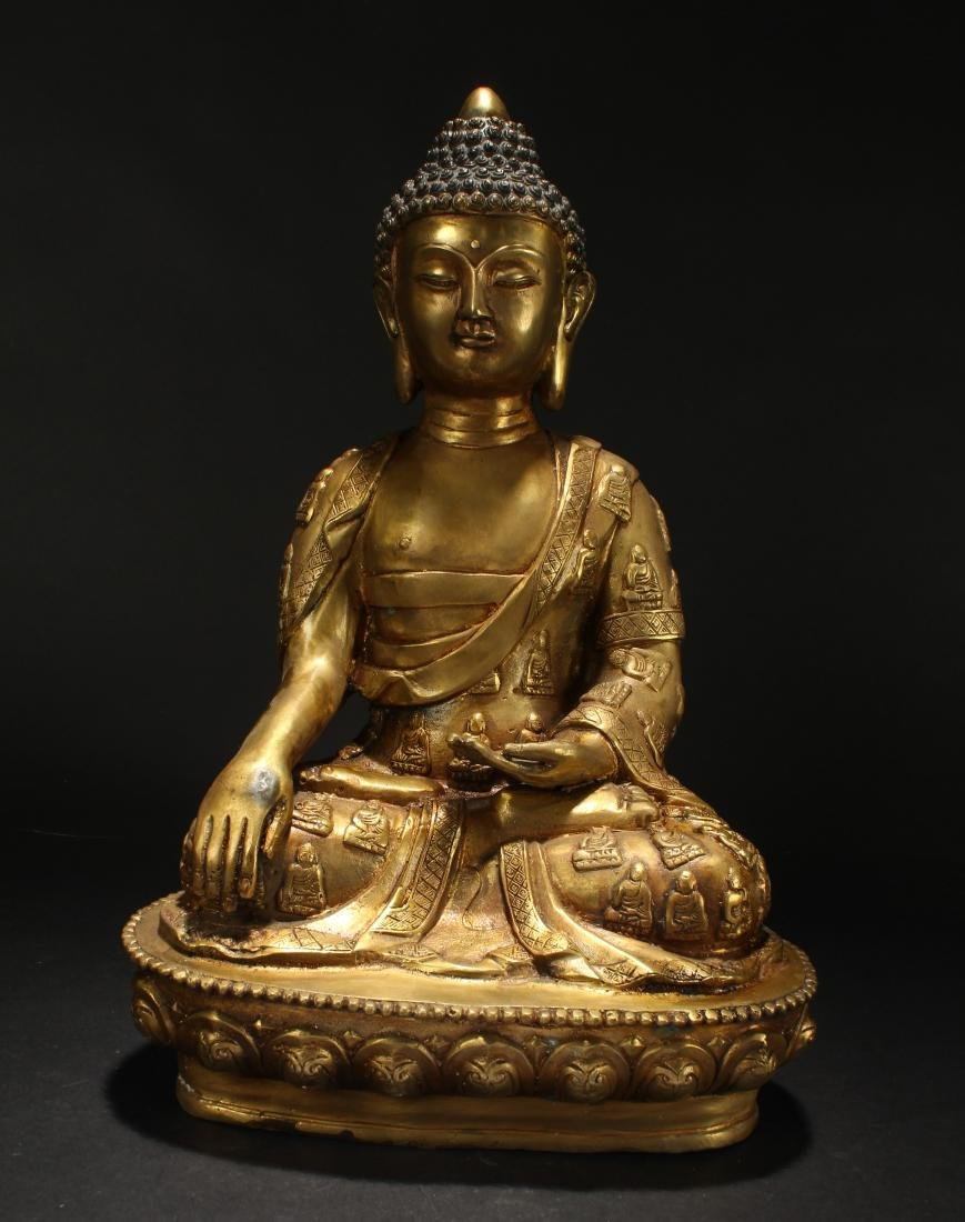 A Chinese Gilt Loctus-seated Fortune Buddha Statue
