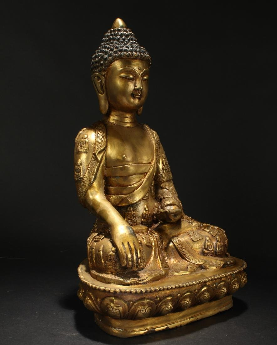 A Chinese Gilt Loctus-seated Fortune Buddha Statue - 2