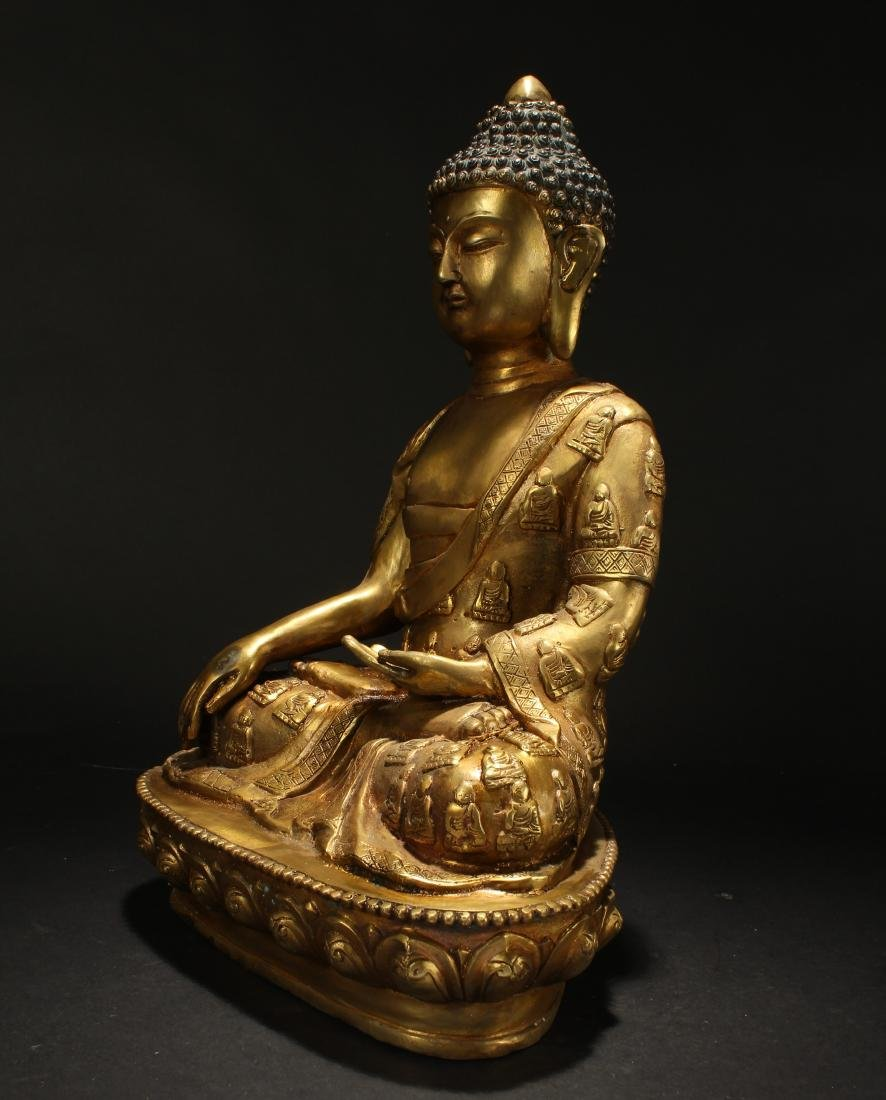 A Chinese Gilt Loctus-seated Fortune Buddha Statue - 3